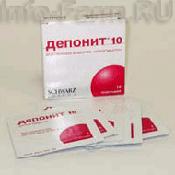 Препарат (лекарство): Депонит 10 на сайте Фармацевтическая Web-энциклопедия